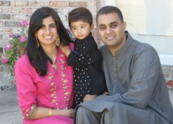 Mariam Aziz, MD, with son Humza and husband Umer Ahmad